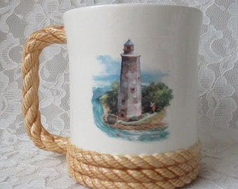 Vintage Mug Cup Lighthouse with Rope Handle, Ocean Sea Nautical Beach