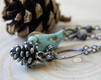 Bohemian Pinecone and Turquoise Pendant Necklace - sterling silver - oxidized and rustic
