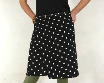 "Black Skirt, Snap Around Skirt, ""Classic Polka Dots"" Plus Size, One Size, Flattering to the behind..."