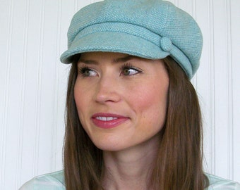 Newsboy Cap, Aqua and White Wool, Womens Newsboy Hat, Winter Hat  MADE TO ORDER