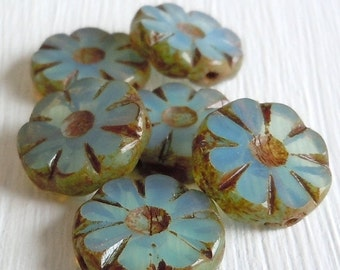 25% OFF Summer Sale Czech Glass Beads 13mm Coin Beads Milky Aqua Picasso - Picasso Czech Beads - 6 pcs (G - 532 )