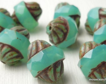 Milky Aqua Picasso Large Czech Glass Beads 12mm Faceted Turbine - 8 Beads (G - 608)