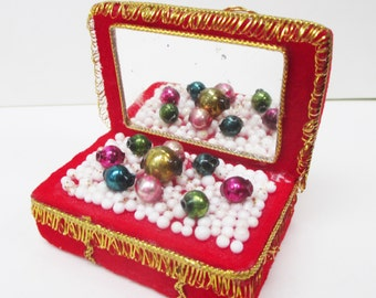 Vintage Christmas Ornament Mercury Beads Red Flocked Treasure Chest with Mirror