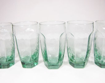 Vintage Libbey Chivalry Glasses Set of 6 Retro 12 Ounces Green Paneled Tumblers