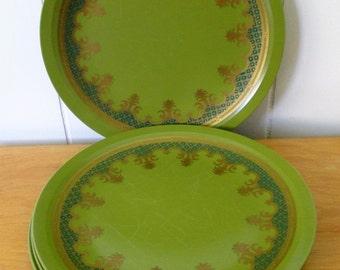 4 vintage metallic olive green melmac dinner plates