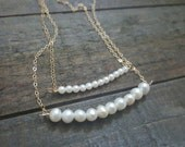 Tiny Pearl Gold Necklace, Pearl Necklace, Bar Necklace, Bridal Jewelry, Bridesmaid Gift