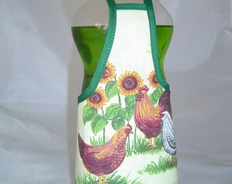 Rooster  Country Decor Dish Soap Bottle Apron Cover Wrap Kitchen Decor Staffer Fun Lg