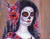 ORIGINAL Poppy Day of the Dead 12 x 12 inches  By Renee L. Lavoie