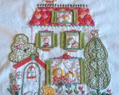 West End embroidery sampler - stitch your own colorful cottage with children, pets and a garden