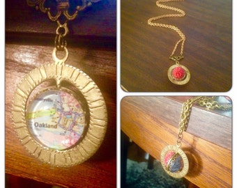 Oakland Map Necklace//Solid Brass chain  - Spinner - vintage style jewelry - Maps - Map Jewelry - Oakland California