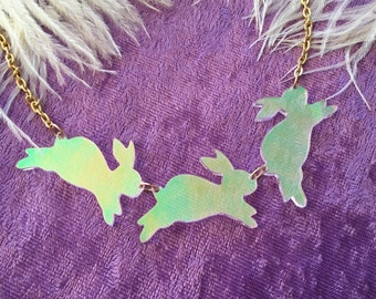 Rainbow Acrylic Bouncing Bunnies Necklace LIMITED