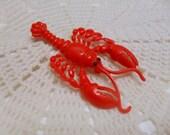 Red Lobster Crustacean Plastic Brooch Pin 1960's Vintage