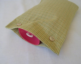 NEW Pale Green, Yellow and Tan Houndstooth Check Hot Water Bottle Cover