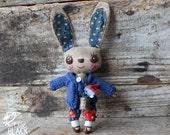Cloth Bunny, primitive, cloth doll, collectible