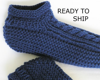 Navy Slippers Mens or Womens Low Cuff Cabled, Handknitted, Size Mens 8 - 9, Womens Wide 9 - 10