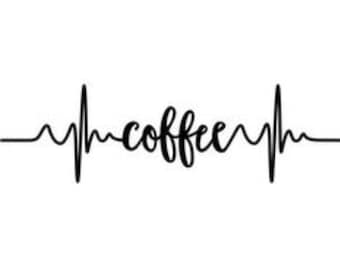 Coffee Pulse Decal, wall art, indoor use, laptop sticker, wall sticker, coffee, decal, vinyl decal, pulse, decal, vinyl