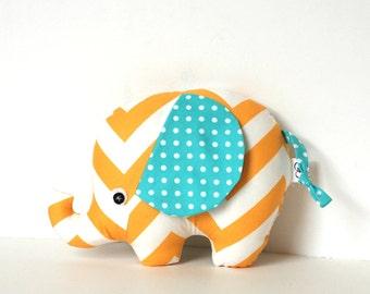 Yellow and Aqua Chevron Baby Boy Gift Stuffed Elephant Plush Softie