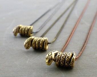 tiny snake necklace, sideways snake necklace, Chinese zodiac jewelry