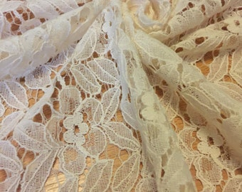 Lace Fabric Floral Alencon Inspired Design 1-3/4 Yards
