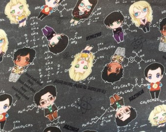 Big Bang Theory Chibi Characters Geeky Science Custom Cotton/Lycra Knit Infinity Scarf