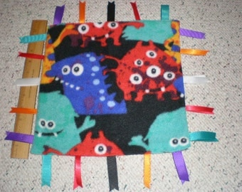 Cute Bright Color Monsters Print Baby Sensory Taggie Blanket