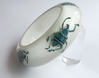Beautiful white lucite bracelet with real exotic beetles