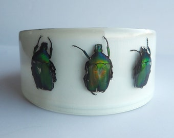 Large white lucite art bracelet with real metallic beetles