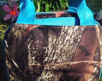 Camouflage Lunch Tote - Camo and Turquoise Lunch Bag - Insulated Lunch Tote Box Includes Monogram