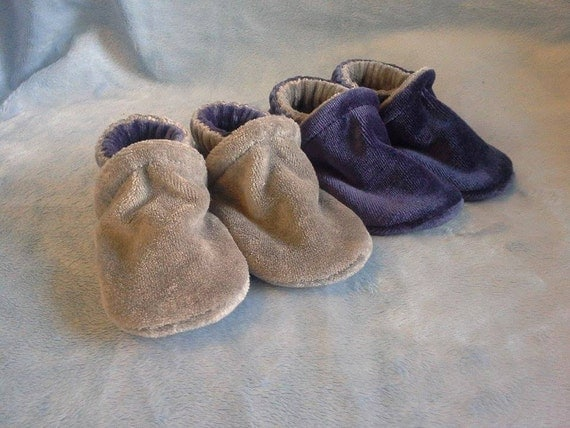 Navy & Silver Bamboo Velour Slippers 6-12M