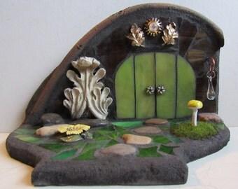 Stained Glass Mosaic Fairy Door, 3D Garden Sculpture, Diorama, Fairy House, Woodland Sculpture, Home Decor, Faerie Portal, The Forest Floor