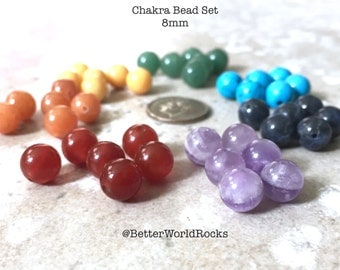 42 pc. 8 mm Chakra Beads, Chakra Stones, Chakra Crystals, Healing Crystals, 1 each of 7 stones, Rainbow Beads, 1/3 inch ea, Yoga Jewelry