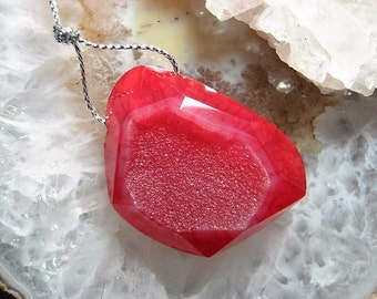 Ruby, Red Agate Focal Bead Pendant