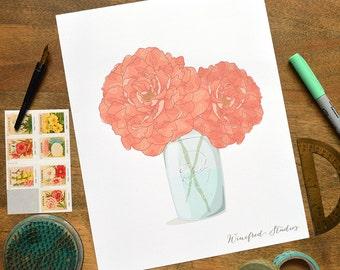 Peony Bouquet in a Ball Jar Illustration | Winifred Studios Wall Art - 8x10 Art Print