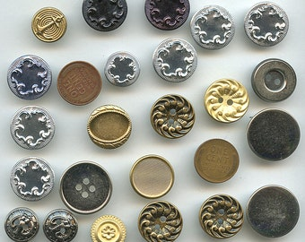 Metal Buttons Lot of (23) Vintage Gold Silver Different Sizes NOS New Old Stock Deadstock 2309