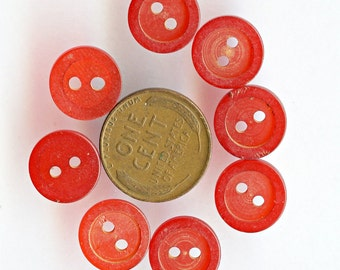 Bakelite Buttons set of (11) Cherry ReD Vintage Matching Small 1/2 inch size 1903