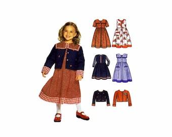 Girls Dress Jumper Jacket Simplicity 9846 Sewing Pattern Size 3 - 4 - 5 - 6 - 7 - 8 Uncut