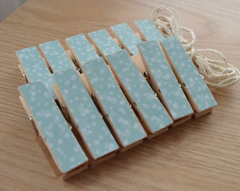 Bokeh Baby Blue Chunky Little Clothespin Clips w Twine for Display -  Set of 12