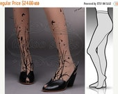 SALE25%off/// small/medium fabulous FORESTt SYMPHONY tattoo stockings / full length / pantyhose / nylons Deep Mocha