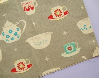 Vintage Dishes in Grey - Melody Miller Ruby Star Rising - Half Yard - Teacups, Teapot - red, turquoise, grey, white  - Destash
