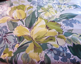Vintage polished cotton floral washable Everglaze chintz greens 5 plus yards