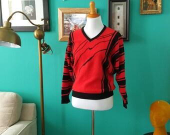 Vintage Orange/Black V-neck Sweater M L