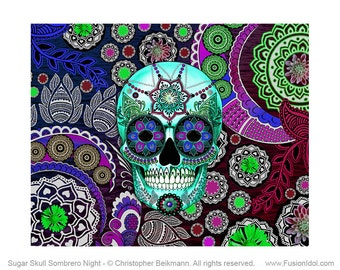 Purple Paisley Sugar Skull 24x18 Art Canvas - Dia De Los Muertos Art - Sugar Skull Sombrero Night - Modern Day of the Dead Art Canvas