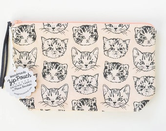 Cute Cats Medium Boxy Zipper Pouch | Original Fabric Design | Peach and Grey