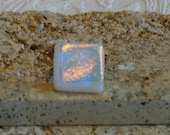 White Dichroic Fused Glass Adjustable Ring