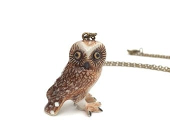 LAST ONE! Brown owl necklace, long necklace, ceramic, woodland necklace, woodland jewelry, brown owl, tawny owl, owl jewelry, bird