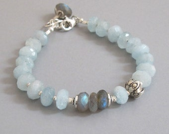 Aquamarine Labradorite Bracelet Sterling Silver Bead Gemstone DJStrang Blue Green Color Flash Bridal Boho Cottage Chic