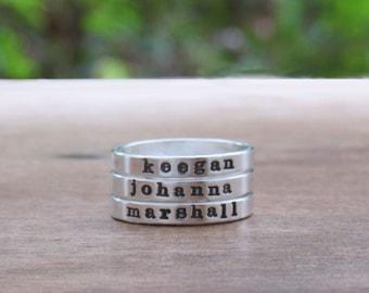 Name Ring Mother Ring Stack Ring Custom Name Ring Hand Stamped Ring