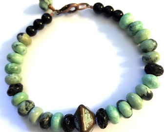 Bracelet of Green Turquoise and a Verdigris Copper Focal Bead