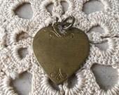 Vintage Heart Pendant Brass Charm Valentine FREE SHIPPING