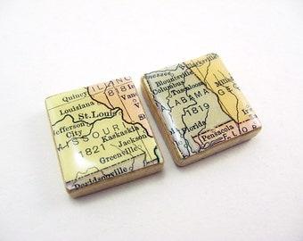 Missouri Magnet, Alabama Magnet, Map Fridge Magnet, Travel Magnet, Refrigerator Magnet, Scrabble Tile Magnets, Cute Magnets, One of a Kind